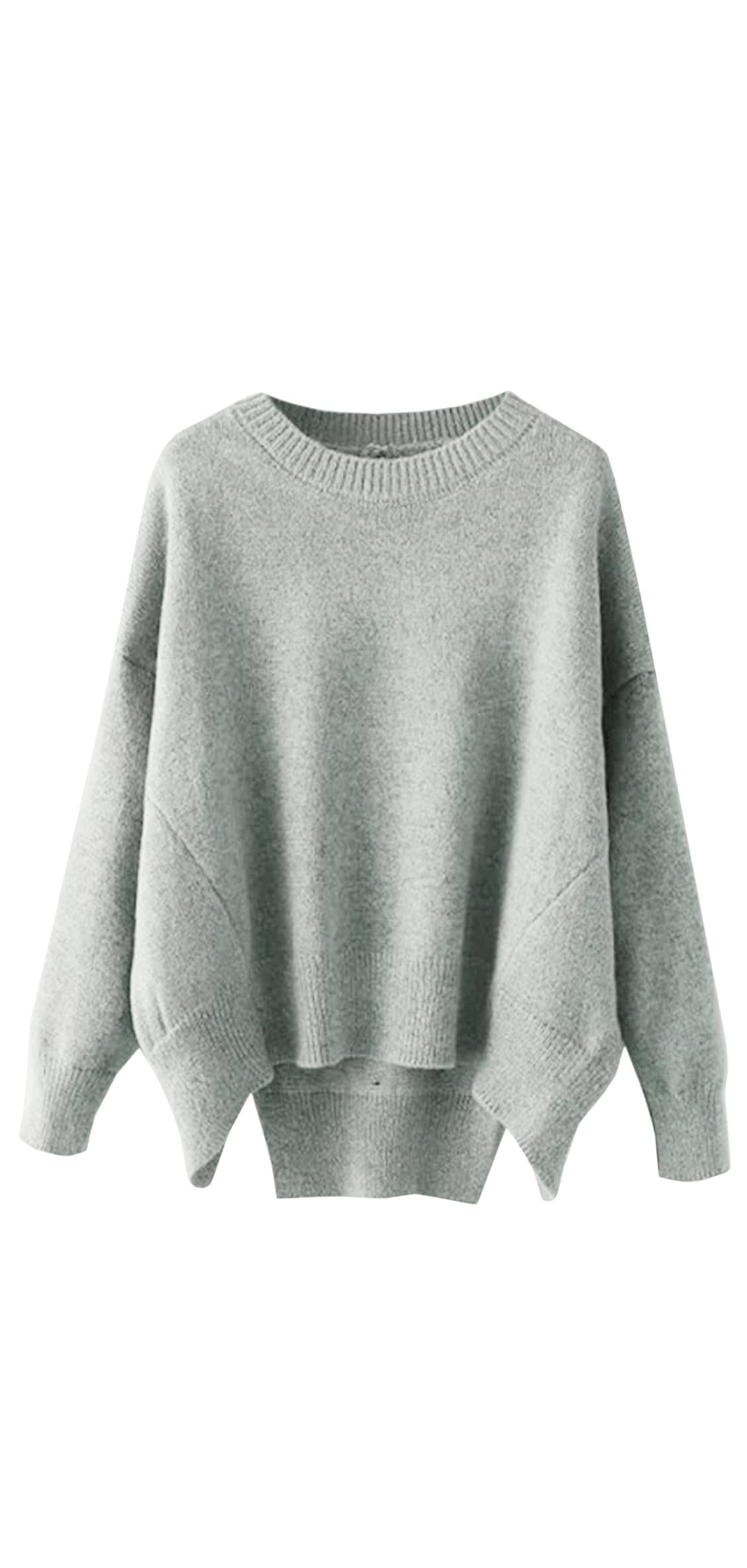 Women's Crew Neck Solid Long Drop Sleeves Loose Knit