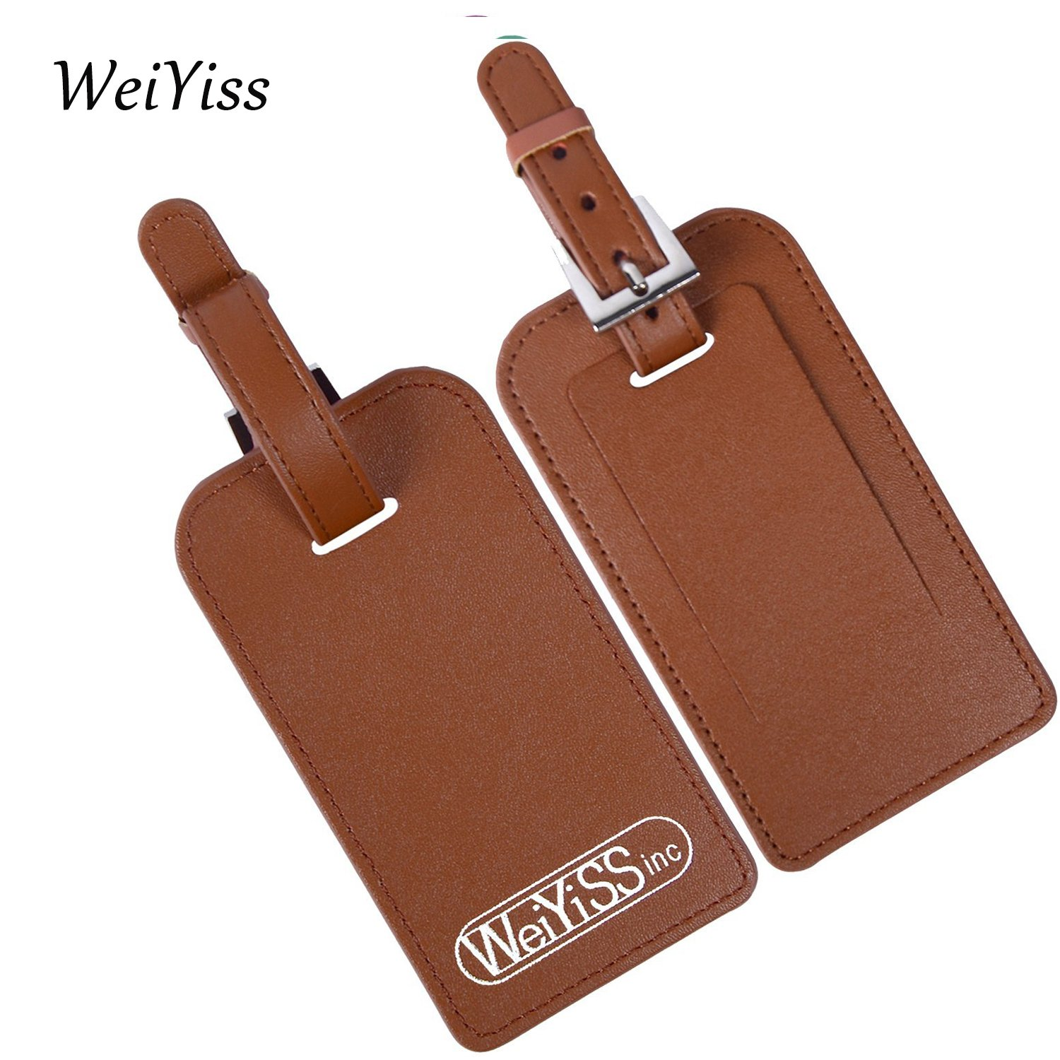 Leather Business ID Tags for Luggage Baggage Travel Flight Suitcase Sports Bag (Yellow) WEIYISS.inc