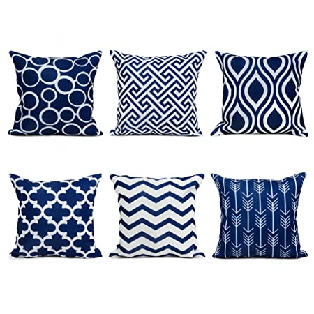 topfinel navy cushion cover canvas decorative square throw pillow