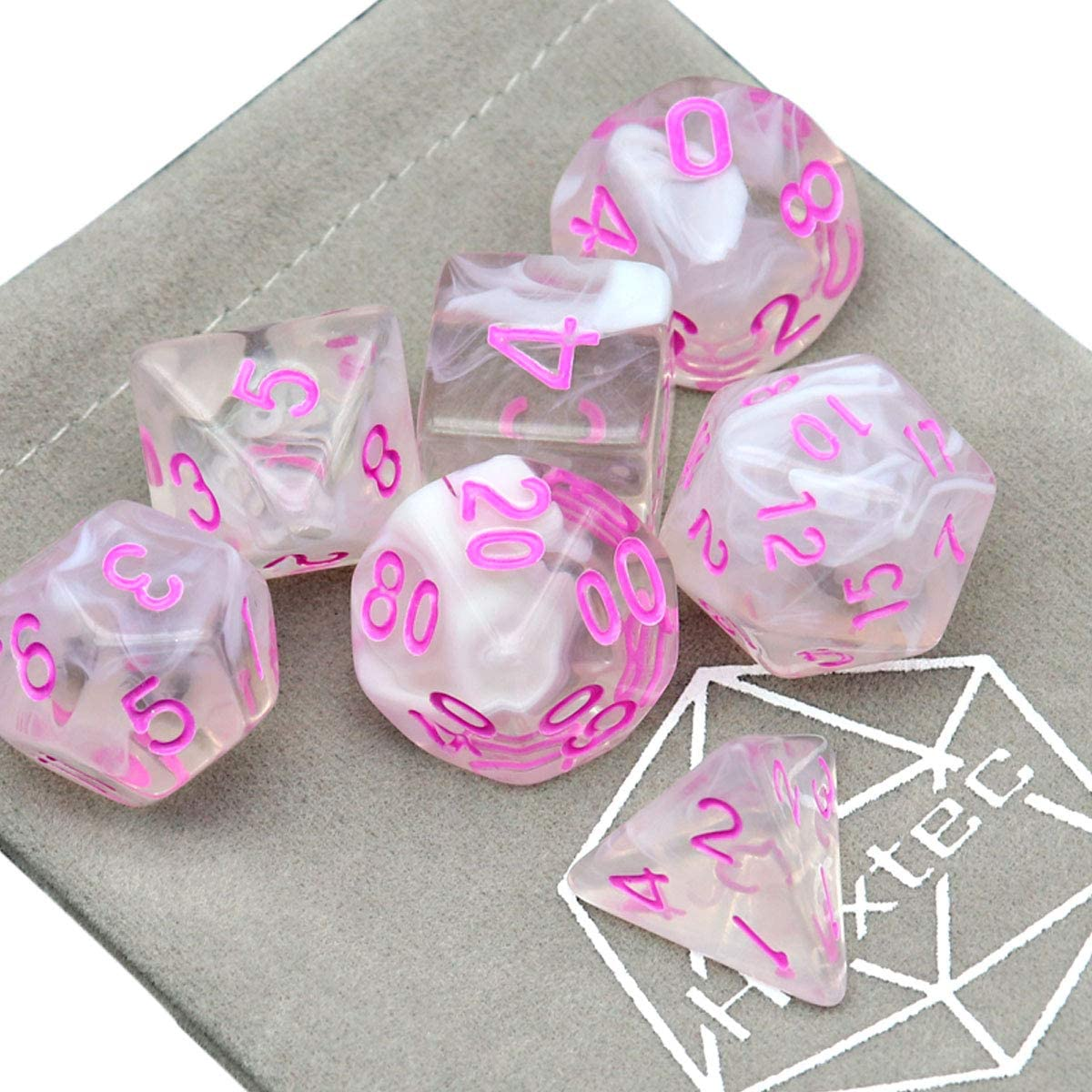 Haxtec Glitter DND Dice Set 7PCS Yellow White Grey Polyhedral D/&D Dice for TTRPG Dungeons and Dragons-Fox