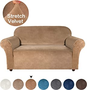 Turquoize High Stretch Sofa Slipcover Velvet Plush Slipcover Form Fit Strapless Couch Covers for Living Room Spandex Loveseat Slipcovers, Slip Resistant Furniture Protector (Loveseat, Luggage)
