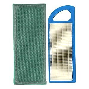 Buckbock Air Filter Kit for Briggs & Stratton 697153 697014 697014 697634 698083 795115 797008 Stens 102-875 Oregon 30-122 Craftsman 33425 John Deere Gy20573 102 105 115 L100 L105 L107
