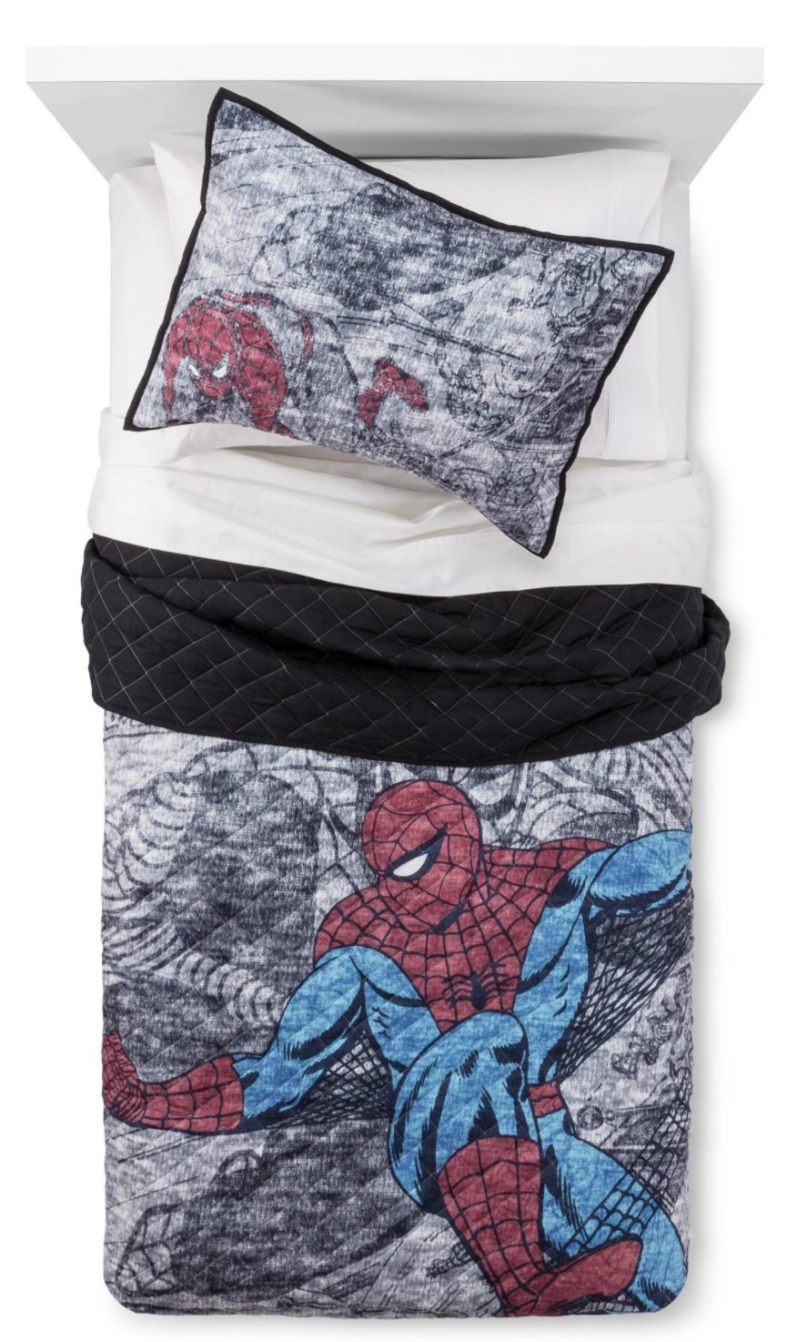 7-pc Marvel Spider-Man Hero QUEEN Quilt & Sheet Set (set includes: Quilt, 2 shams, 4-pc Queen Spidey Sense Sheet Set)