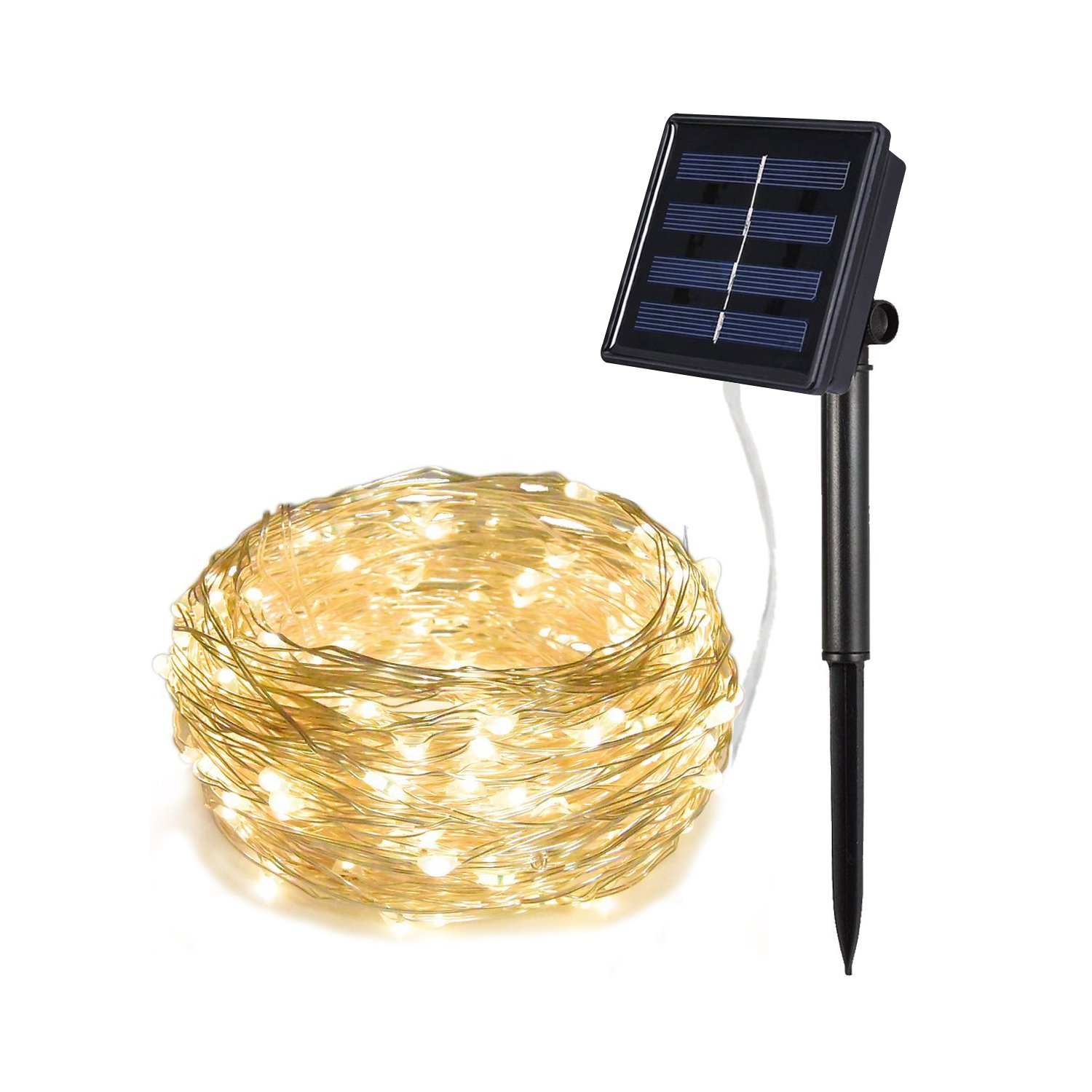 Relohas Solar String lights, 33ft 100 LED Silver Wire Outdoor String Waterproof Christmas Lights 8 Modes Solar Powered Fairy Lights for Home,Gardens, Patios,weddings and Parties(Warm White)