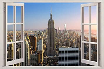 Amazoncom New York City Skyline Ny 3d Window View Decal Wall