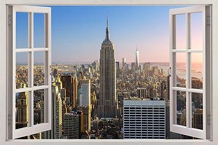 amazon com new york city skyline ny 3d window view decal wall