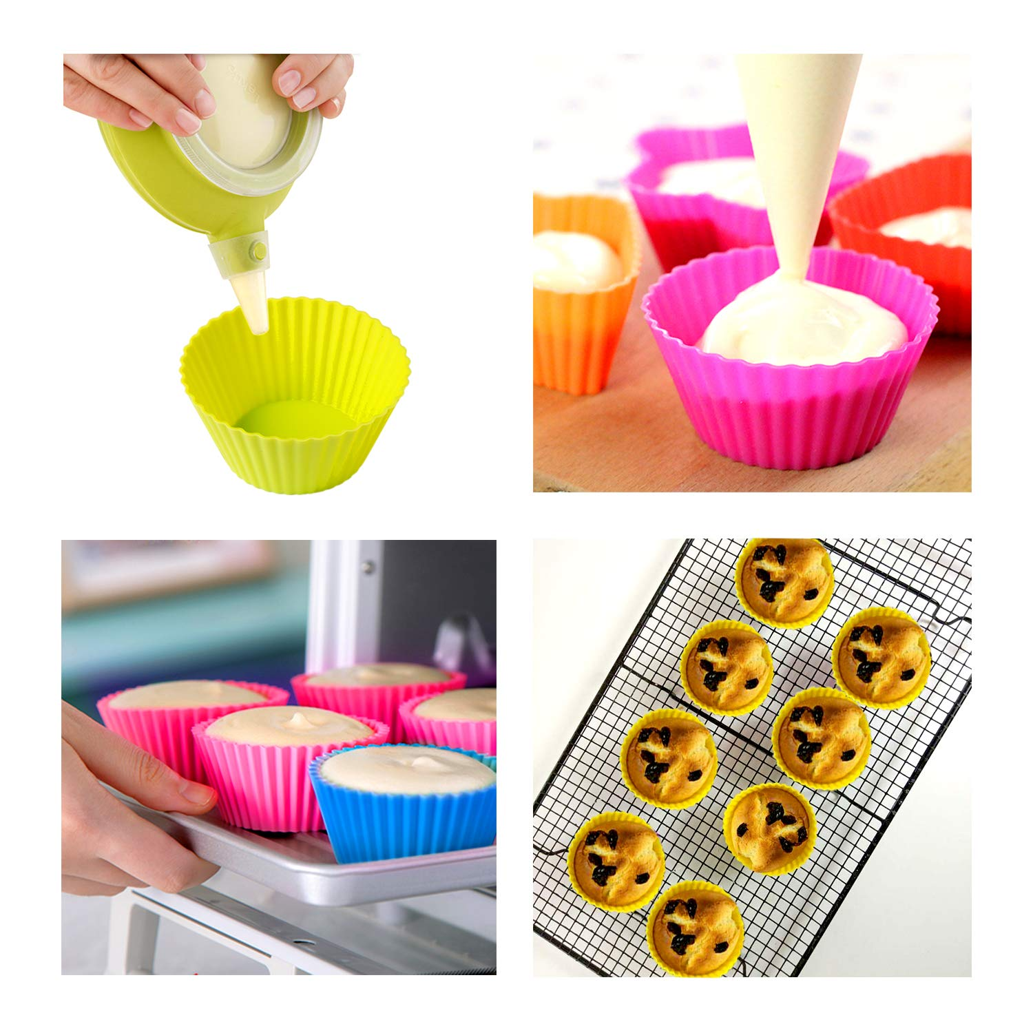 WARMWIND Silicone Muffin Cups, Food Grade Cupcake Baking Mold, 36-Pack Cake Cup Sets, Reusable Baking Cups, Non-Stick Cupcake Liners, Dishwasher Safe by WARMWIND (Image #5)