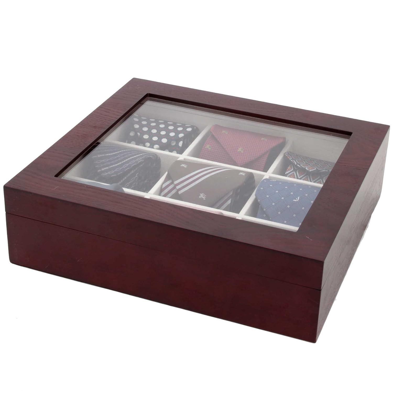 Amazoncom Techswiss Tie Box Storage Case Organizer In Wood Glass