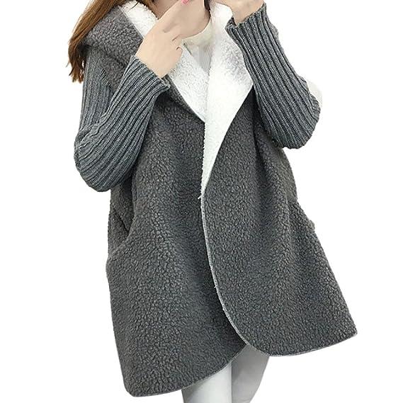 VJGOAL Mujeres otoño e Invierno con Capucha de Lana Gruesa como Piel de Cordero Larga Chaqueta de Punto Suelta Abrigo de Gran tamaño suéter(Un tamaño, ...