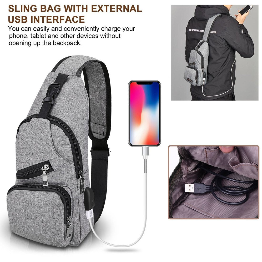 d6827143741 Amazon.com   Sling Shoulder Crossbody Chest Bag for Men Women Lightweight  Hiking Travel Backpack Daypack with USB Charging Port(Grey)   Sports    Outdoors