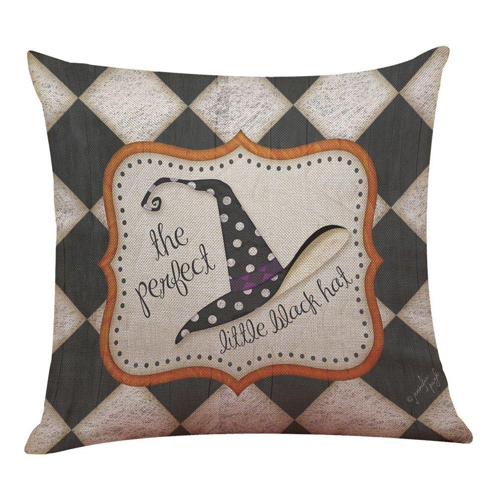 Tiean Super Soft Halloween Pumpkin Hat Owl Pillow Box Linen Sofa Funny Ghost Pad Cushions Home Decoration( 45cm45cm) (F) gago