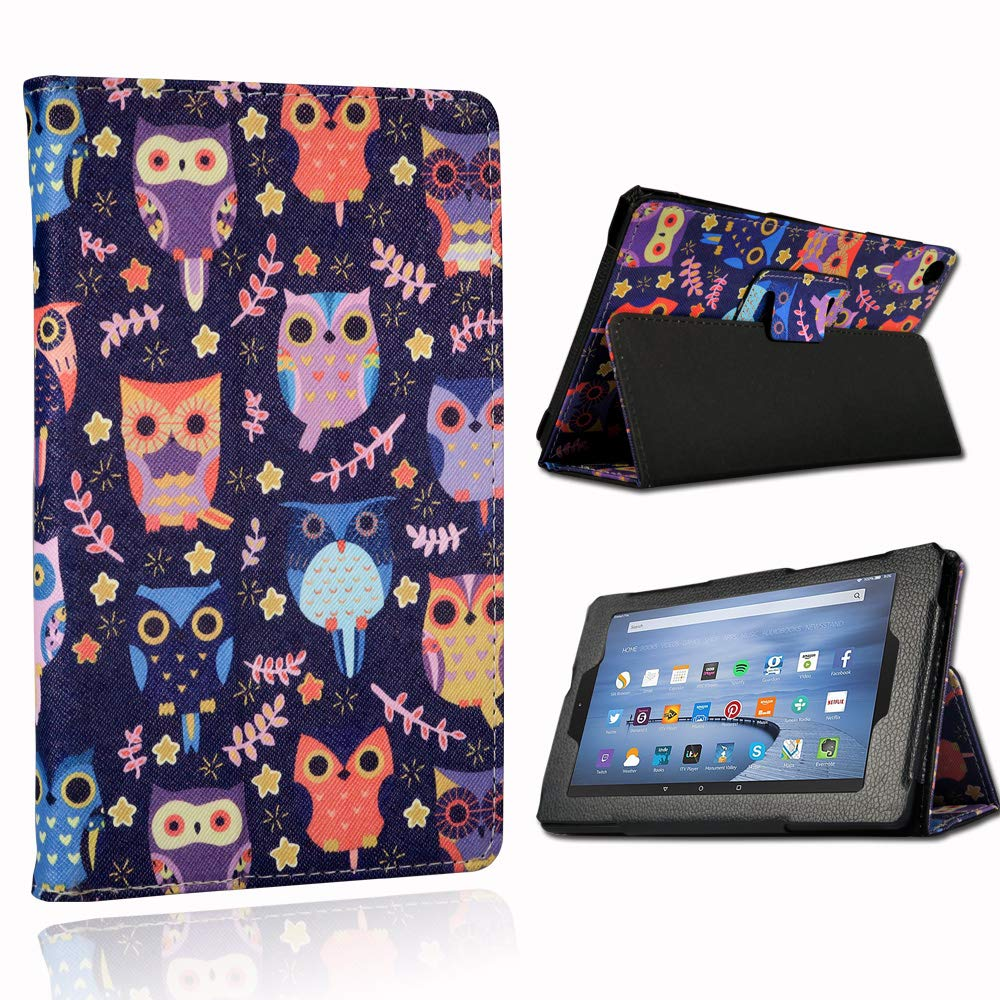 """FINDING CASE For  Fire HD 8 Inch tablet Alexa 8th // 7th // 6th Generation -2018, 2017 and 2016 Release 8/"""" Folio Leather Smart Folding Stand Cover Case with wireless Bluetooth keyboard Blue"""