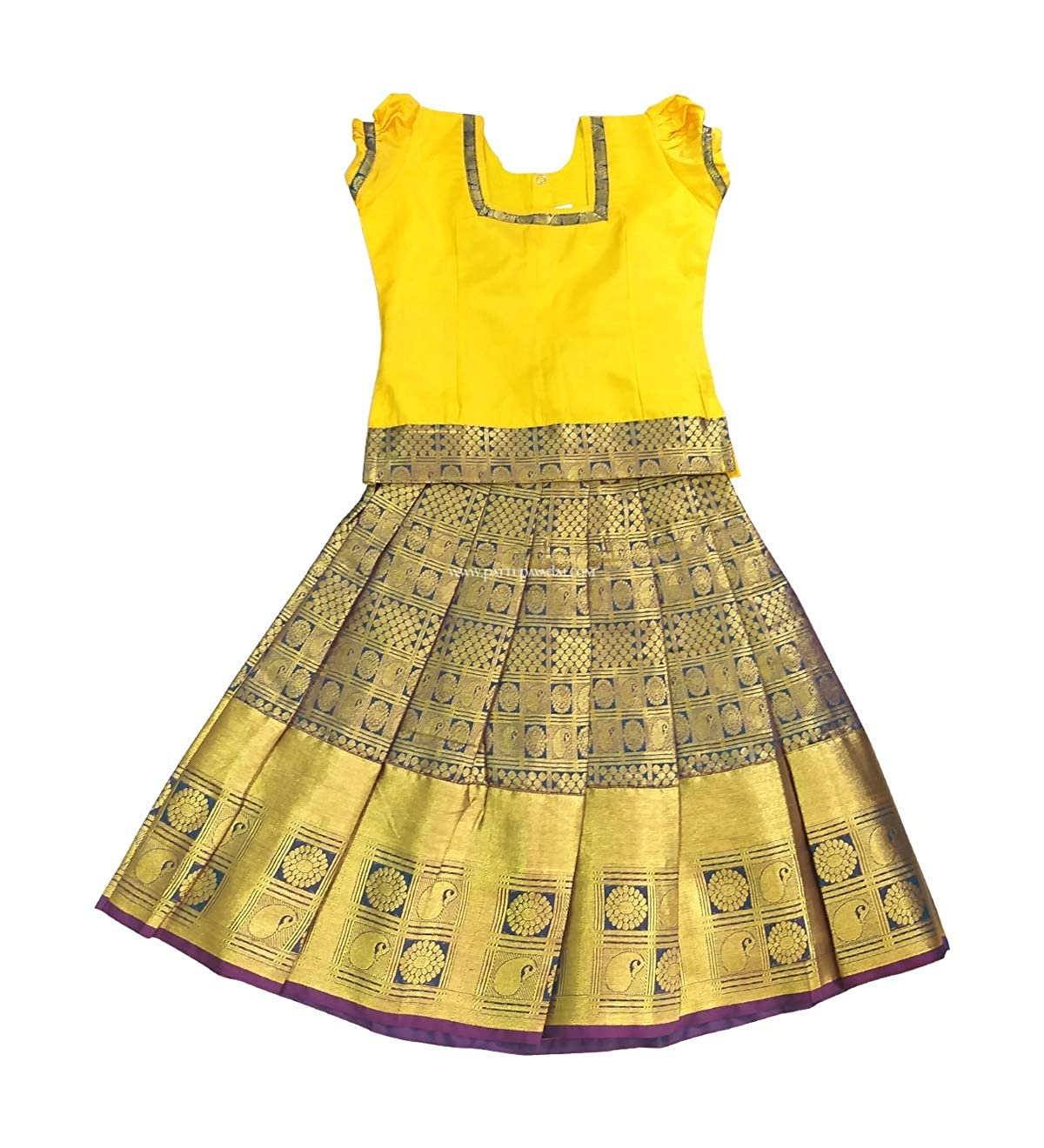 f7bde3f172f Pattu Pavadai Silk Pavada Yellow and Green for Baby Girls and Kids:  Amazon.in: Clothing & Accessories