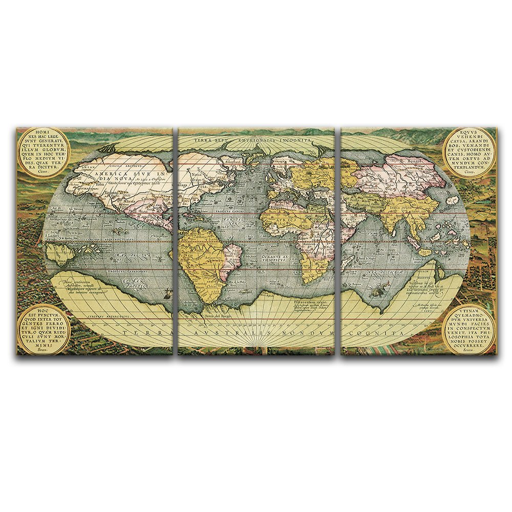Wall26 3 panel canvas wall art vintage world map giclee print wall26 3 panel canvas wall art vintage world map giclee print gallery wrap publicscrutiny Gallery