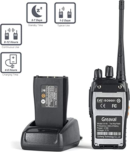 Greaval Rechargeable Walkie Talkies 4 Pack Long Range 2 Way Radio Handheld 16-CH Two Way Radios Pack of 4