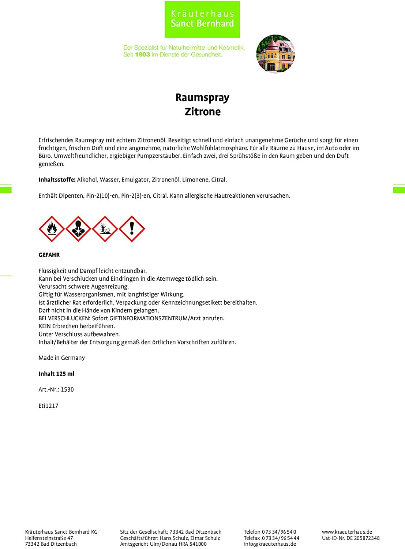 Raumspray Zitrone Mit Echtem Zitronenöl Für Alle Räume Zu Hause Im Auto Oder Im Büro Inhalt 125 Ml Drogerie Körperpflege