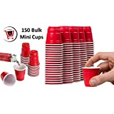 Red Shot Glasses - Mini Solo Cups (150 Bulk Red Cups) - Plastic Shot Cups - Jello Shots - Jager Bomb Cups - Beer Pong - Perfect for Serving Condiments, Nuts and Samples - Red Shot Cups