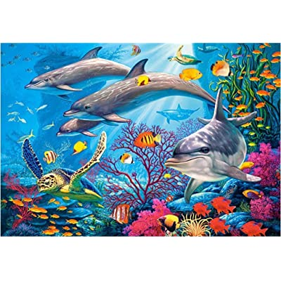 MISSJOY 1000 Pieces Colorful Ocean Jigsaw Puzzles for Adults & Kids, Blue Dolphins Paper Puzzles Teens Puzzles Educational Games Toy Gift, 29.5 x 19.7inch: Toys & Games