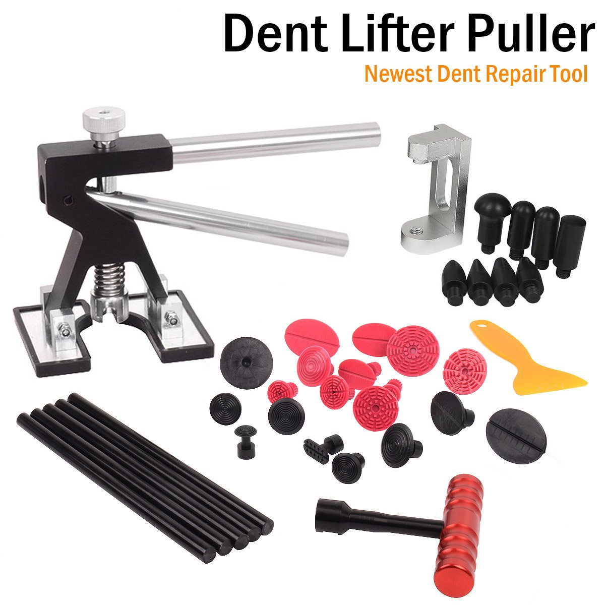 WHDZ Car Dent Repair Tools Dent Puller Paintless Removal Kit Black Dent Lifter with 19pcs Dent Removal Pulling Tabs Suction Cup Plate Pro Glue Sticks for Vehicle SUV Car Auto Body Hail Damage Remover
