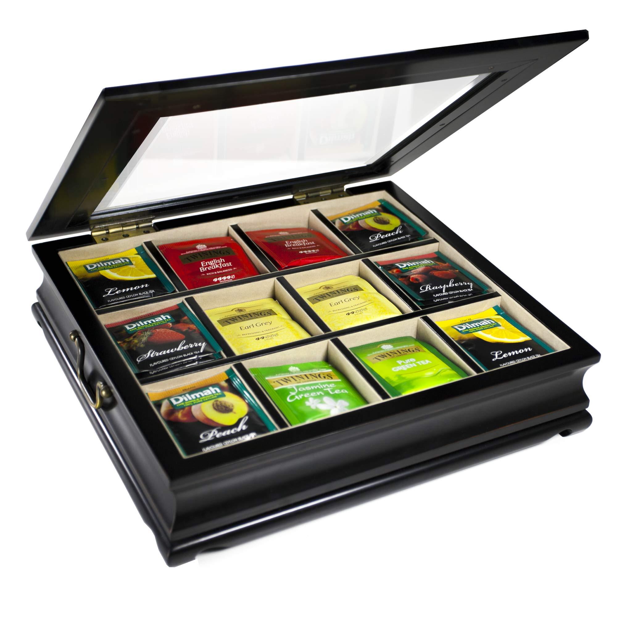 ChezMonett Tea Chest Large Storage Tea Bag Box Wooden with Beveled Glass Window 12 Compartments by ChezMonett