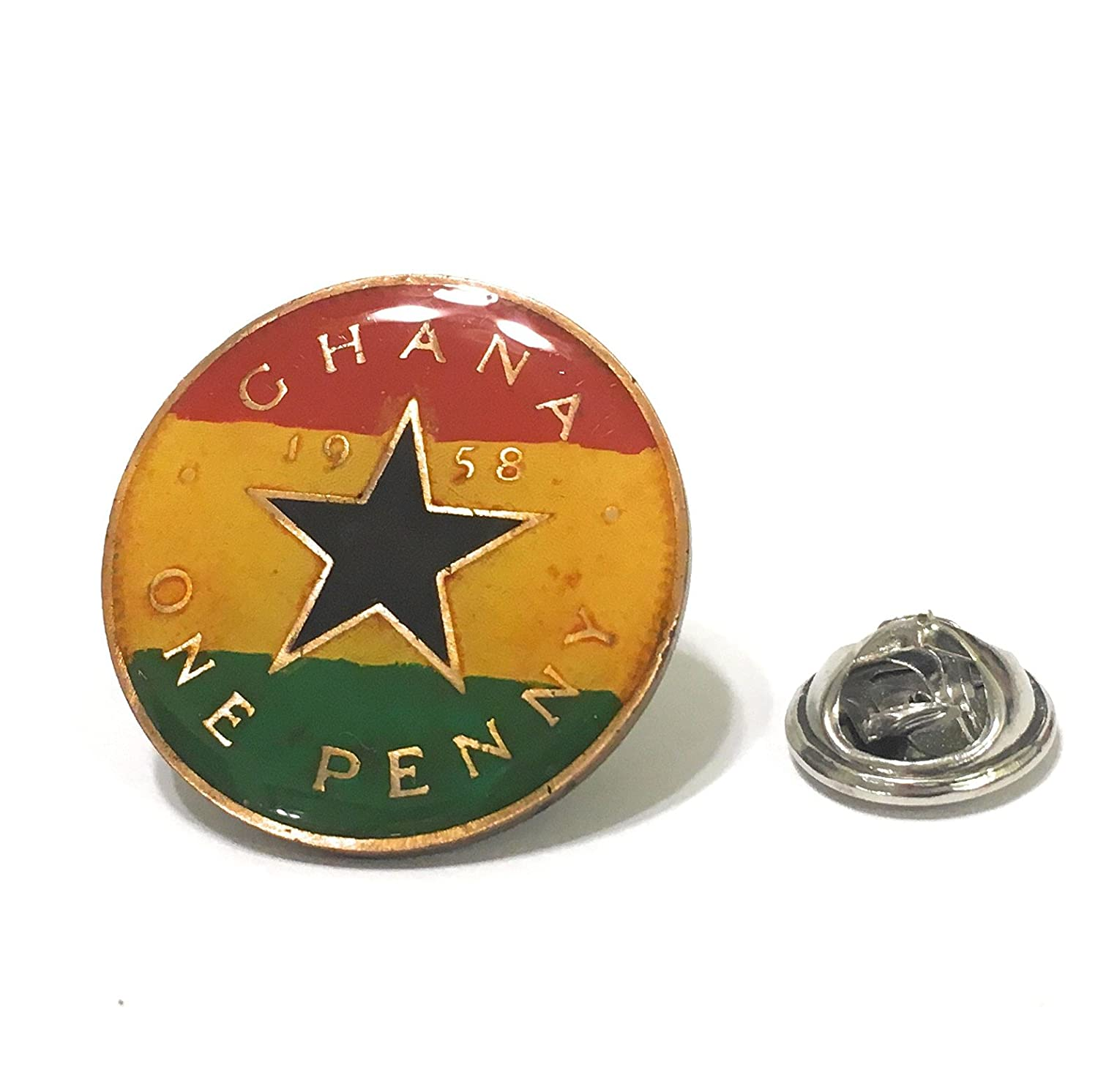 Ghana Coin Lapel Pin Penny Flag Tie Tack Africa African Jewelry Wedding Gift Groom Suit