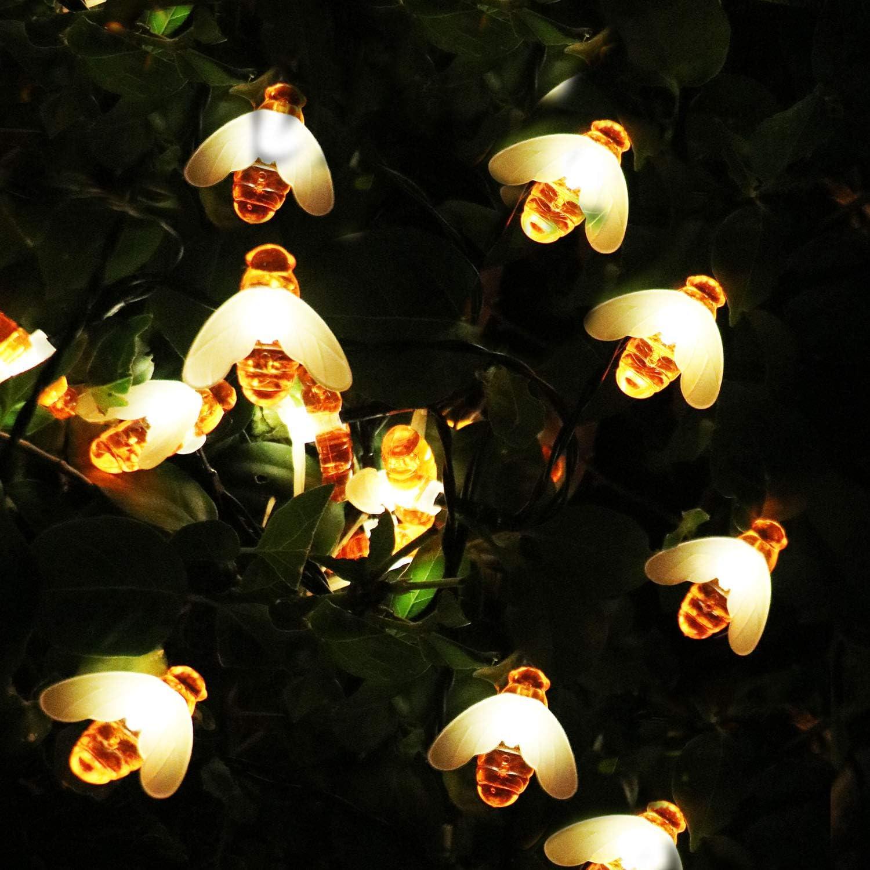 BeHiller Honeybee Solar Garden Lights,20FT 30LED 8 Modes Waterproof,Solar Bee String Lights Bee Decor Fairy Decorative Light for Xmas Lawn Yard Outdoor Decorations(Warm White)