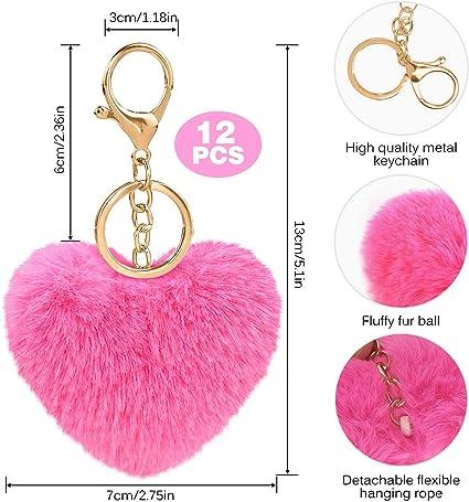 Keychain 2 names crochet ball pink