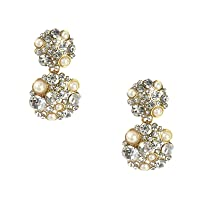 Kate Spade Pick A Pearl Simulated Pearl Crystal Cluster Drop Earrings, Cream Multi