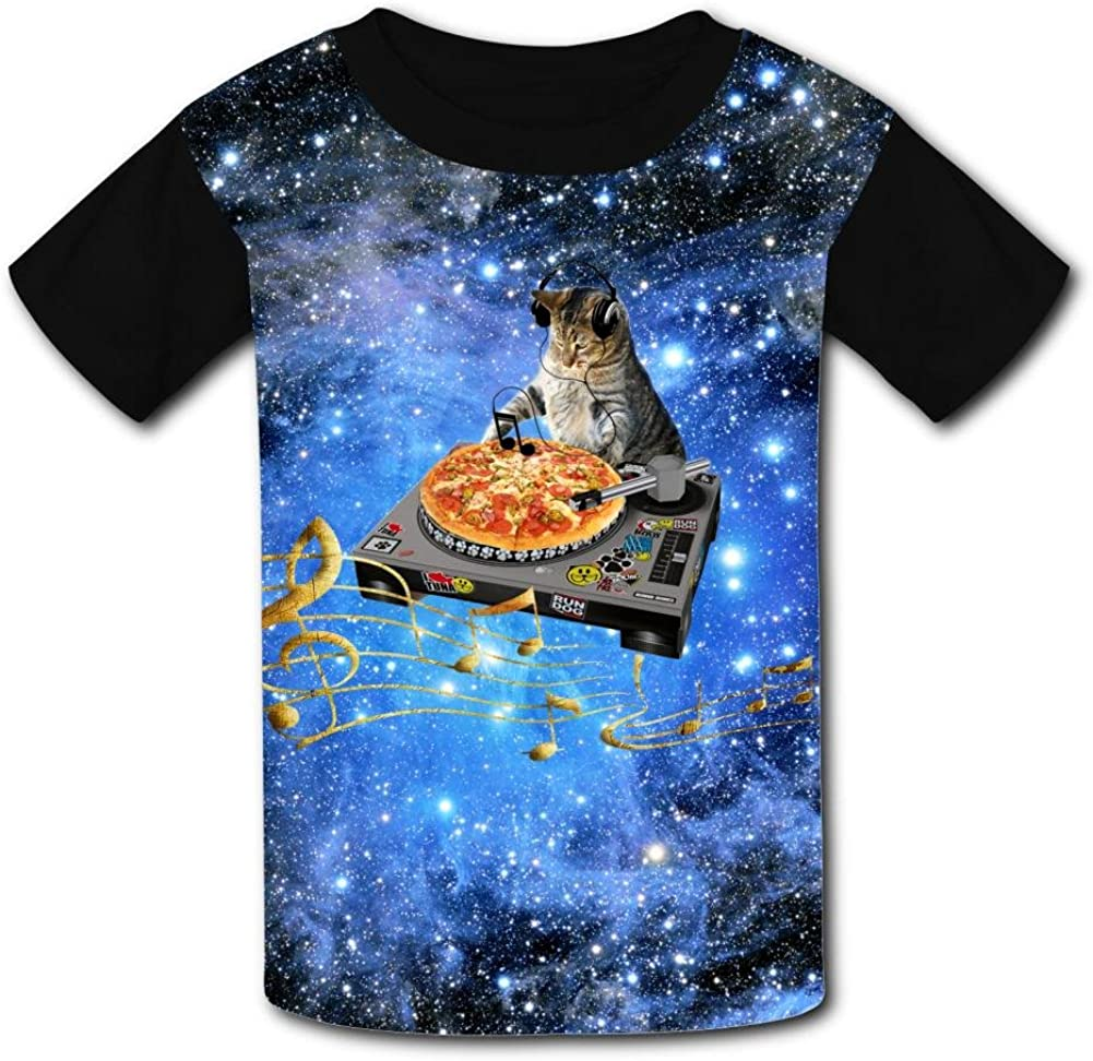 Funny Dj Cat Fluttering Musical Notes Casual T-Shirt Short Sleeve for Kids