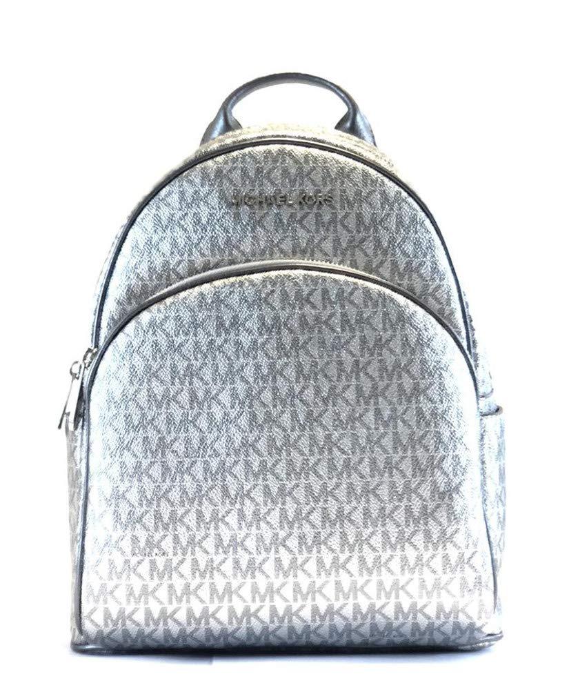 Michael Kors Abbey Signature PVC Leather Medium Backpack Purse (Silver Signature)