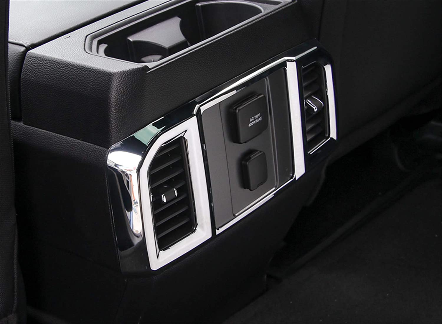 ABS Styling Anti Scratch Protection Decoration Frame Cover Trim Cap for Ford F150 2015 2016 2017 2018 Air Vent Outer Frame Out, Chrome