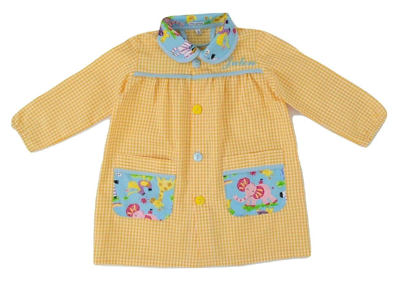 Borda y más Personalized Nursery Smock or School Smock, with Embroidered Name. Cute Animals Model: Yellow (1-2 Years Old)