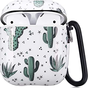 Airpods Case - LitoDream Cute Protective Hard Case Cover Skin Portable & Shockproof Women Girls Men with Keychain for Apple Airpods 2/1 Charging Case (Cactus)