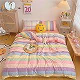 VM VOUGEMARKET Colorful Stripes Duvet Cover Set Queen,3 Pieces Cotton Rainbow Duvet Cover with 2 Pillowcases,Lightweight Luxu