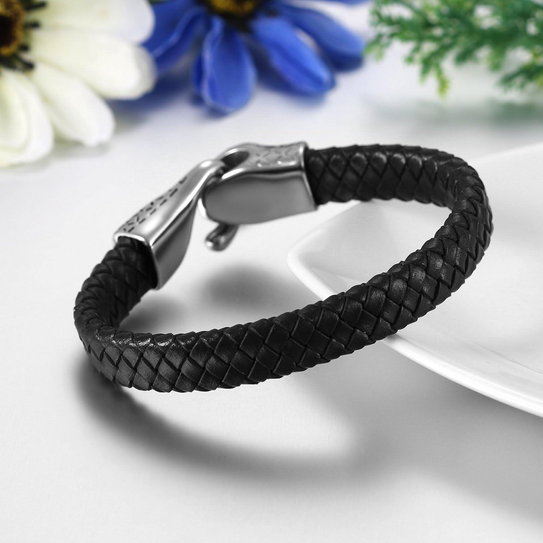 JewelryWe Bijoux Bracelet Homme T/ête de Serpent Lien Poignet Noir Marron Tress/é Cuir Acier Inoxydable Fantaisie pour Homme Gar/çon avec Sac Cadeau