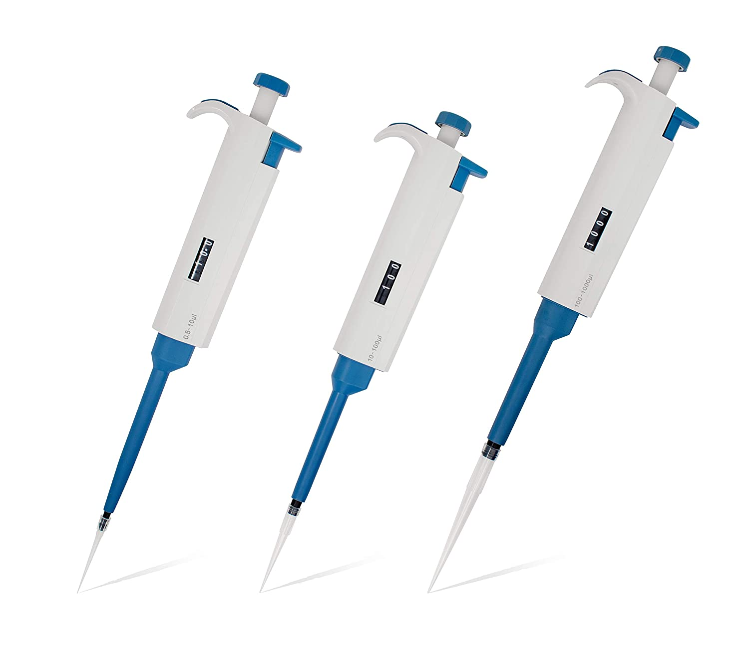 MicroPipette Kit: 3 TopPette Scientific Pipettors (0.5-10ul; 10-100ul; 100-1000ul), Adjustable Single Channel Multi-Volume Autoclavable Pipettes SH-CHEER