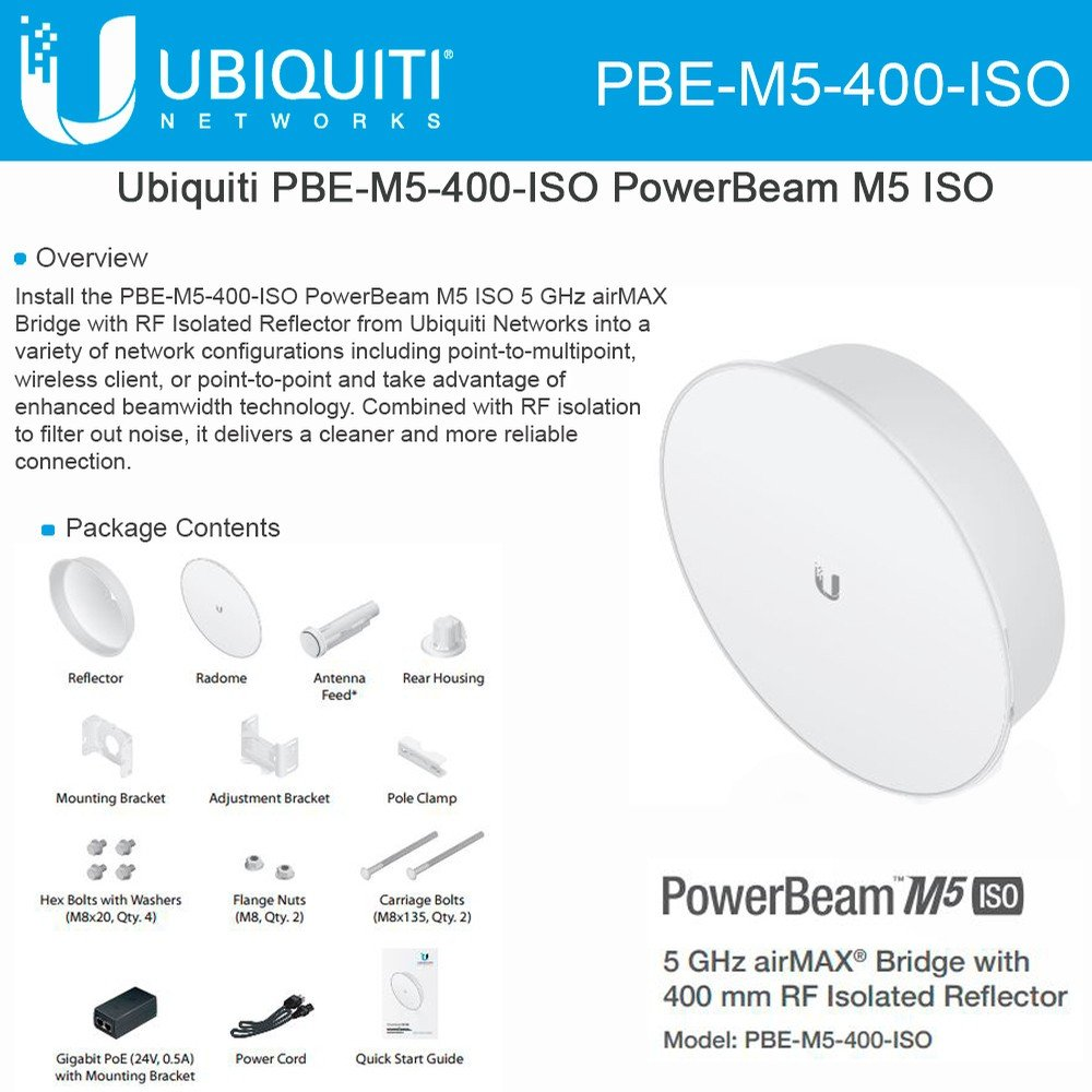 Ubiquiti Pbe M5 400 Iso Powerbeam 25dbi 5ghz Power Beam Airmax 400mm 150 Mbps 25 Km Computers Accessories