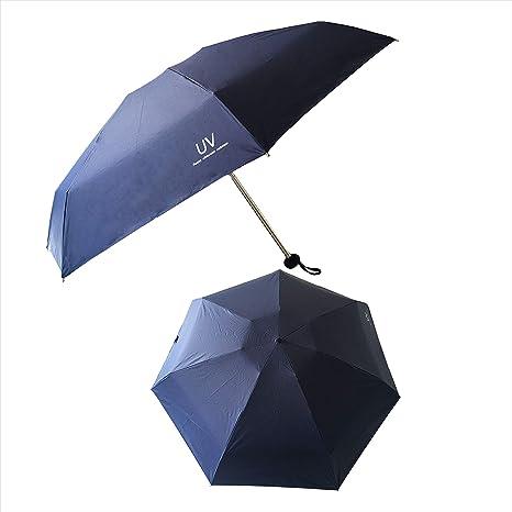 Tinyuet Paraguas Plegable 35 Inch, 7 Esqueletos de Paraguas, Paraguas de plástico Negro Anti-UV UPF50 - Azul