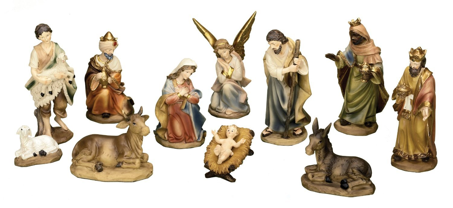 11 Piece, 6 Inch Tall, Resin Stone Hand-Painted Nativity Set