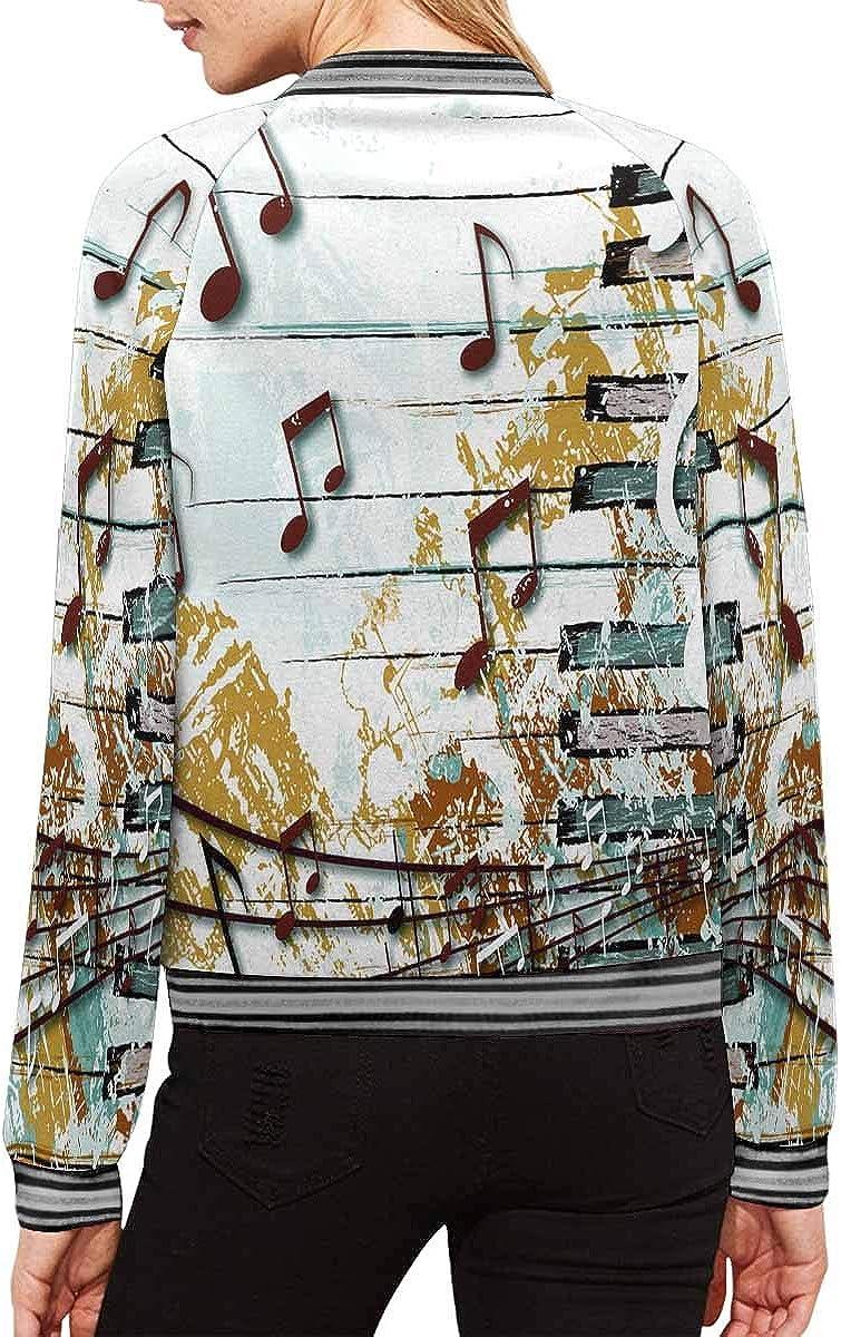 INTERESTPRINT Womens Music Baseball Jacket Coat