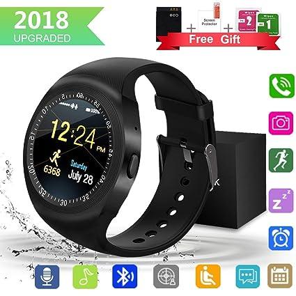 Smartwatch,Impermeable Reloj Inteligente Redondo con Sim Tarjeta Camara Whatsapp,BluetoothTactil Telefono Smart Watch