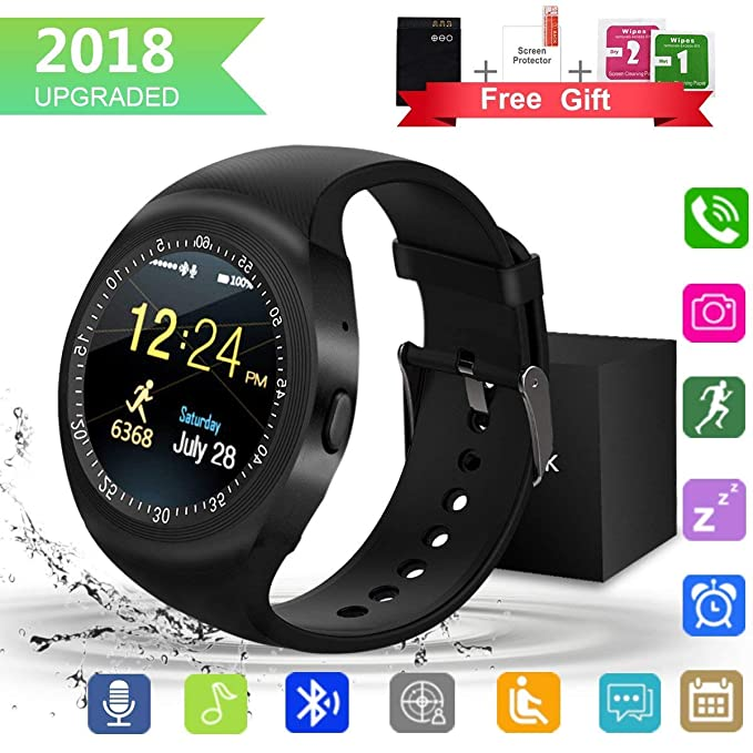 Smartwatch,Impermeable Reloj Inteligente Redondo con Sim Tarjeta Camara Whatsapp,BluetoothTactil Telefono Smart Watch Smartwatches para Android iOS ...