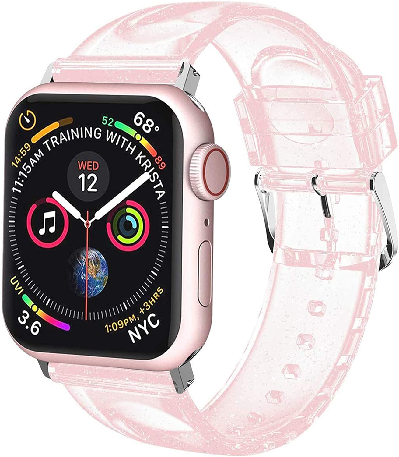iiteeology Compatible with Apple Watch Band 38mm 40mm, Women Glitter Soft Silicone Sports iWatch Band Strap for Apple Watch Series 6/5/4/3/2/1/SE (38mm 40mm Pink/Silver)
