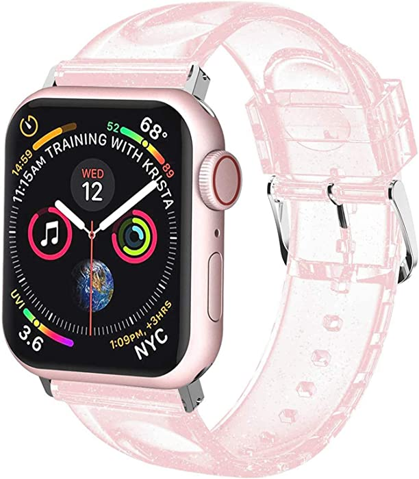 iiteeology Compatible with Apple Watch Band 42mm 44mm, Women Glitter Soft Silicone Sports iWatch Band Strap for Apple Watch Series 6/5/4/3/2/1/SE (42mm 44mm Pink/Silver)
