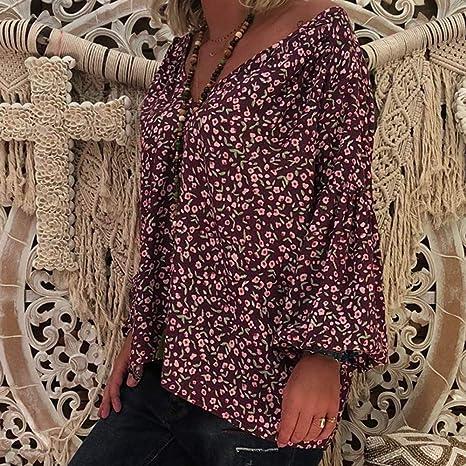 Camisa para Mujer Talla Grande Flores Camiseta Sueltas con Cuello en V Floral y Manga Larga Floja Blusa Boho Oversize Casual Rojo XL: Amazon.es: Ropa y accesorios