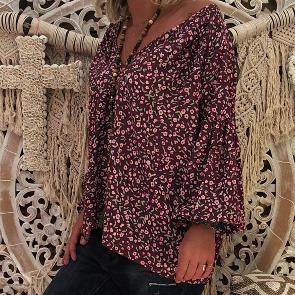 Leoy88 Womens Loose Slim V-Neck Print Puff Sleeve T-Shirt Top
