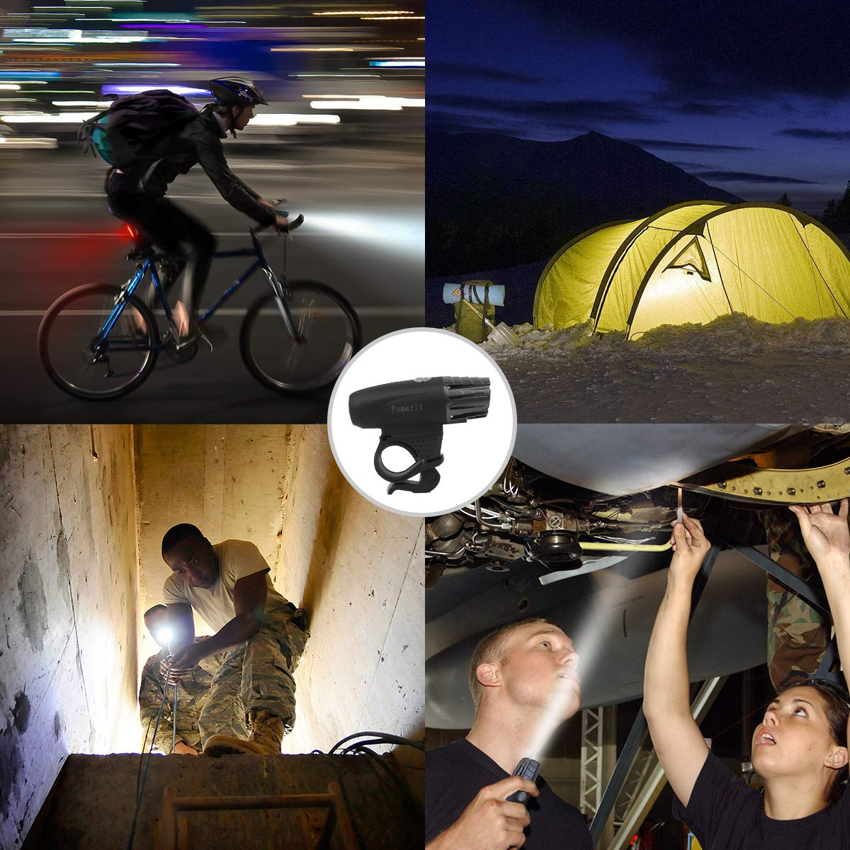 Bonnevie USB Rechargeable Bike Light Set,1500mA Powerful Waterproof Mountain Bicycle Headlight and Taillight Set Super Bright Front Light and Rear Light for Cycling Safety by Bonnevie (Image #7)