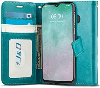 J&D Case Compatible for Galaxy M20 Case, [Wallet Stand] [Slim Fit] Heavy Duty Protective Shockproof Flip Cover Wallet Case for Samsung Galaxy M20 Wallet Case - [Not for Samsung Galaxy M30] - Aqua