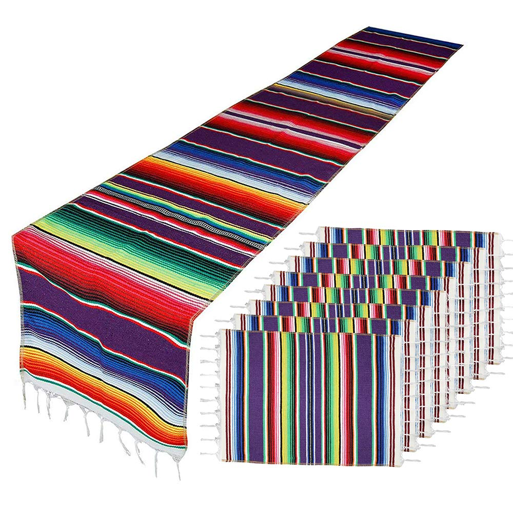 Mexican Table Runner with Place Mats(8 Pcs), Mexican Serape Assorted Place Mats Mexican Party Wedding Decorations, Fringe Serape Blanket Table Runner 14 x 84 inch (Purple Table Runner + 8 Placemats)