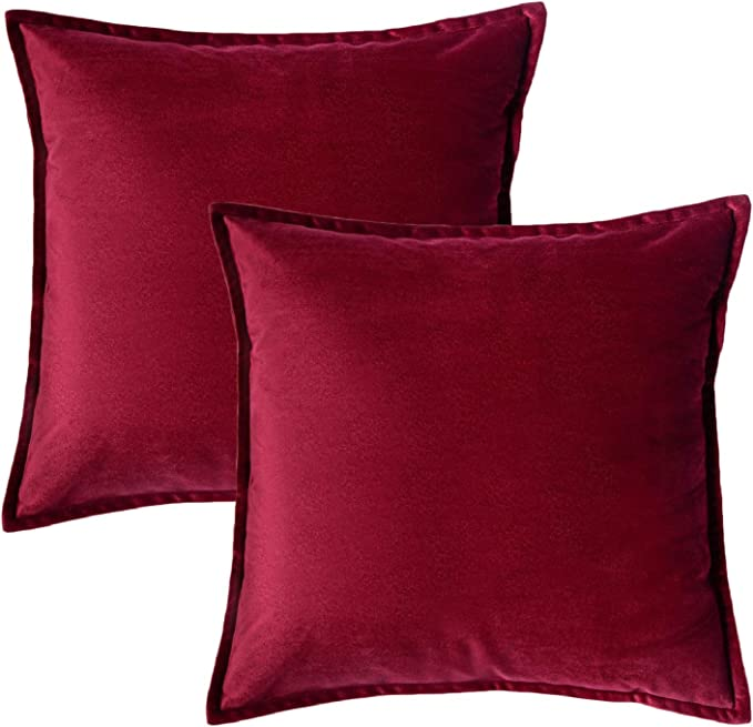 Bedsure Velvet Cushion Cover 2 Pack Red Decorative Pillowcases for Sofa and Couch, 45cm x 45cm (18in x 18in): Amazon.co.uk: Kitchen & Home